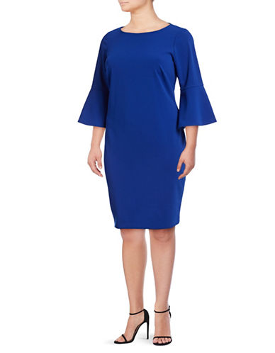 Calvin Klein Bell-Sleeve Sheath Dress-BLUE-20W