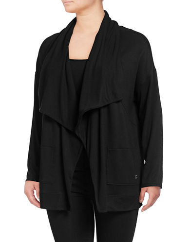 Calvin Klein Performance Plus Plus Open-Front Cardigan-BLACK-1X 89726385_BLACK_1X