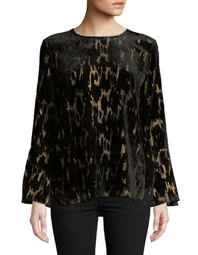 Calvin Klein Velvet Bell-Sleeve Blouse-BLACK-Large