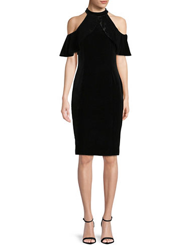 Calvin Klein Velvet Cold-Shoulder Dress-BLACK-14