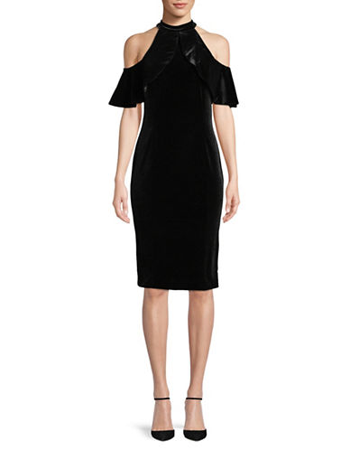 Calvin Klein Velvet Cold-Shoulder Dress-BLACK-2