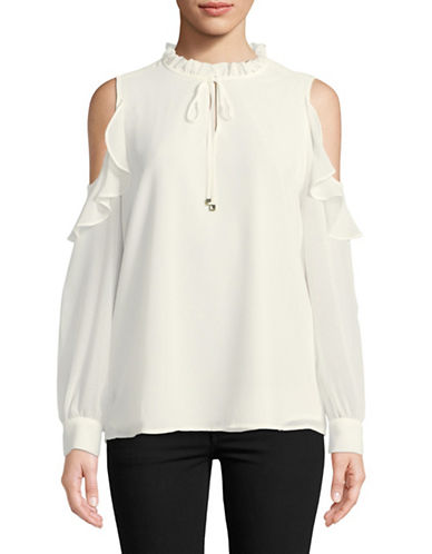 Calvin Klein Ruffled Cold Shoulder Top-WHITE-X-Large 89677967_WHITE_X-Large