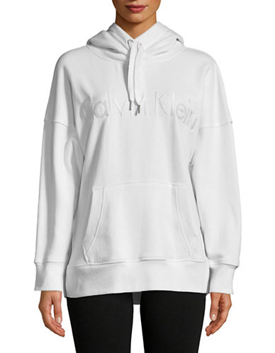 Calvin Klein Performance Heathered Logo Hoodie-WHITE-Medium