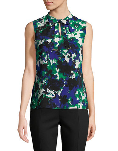 Calvin Klein Floral-Print Sleeveless Top-BLUE-Large 89830190_BLUE_Large