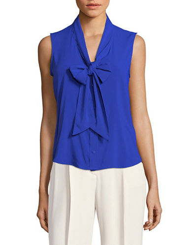 Calvin Klein Tie Neck Sleeveless Top-BLUE-Small
