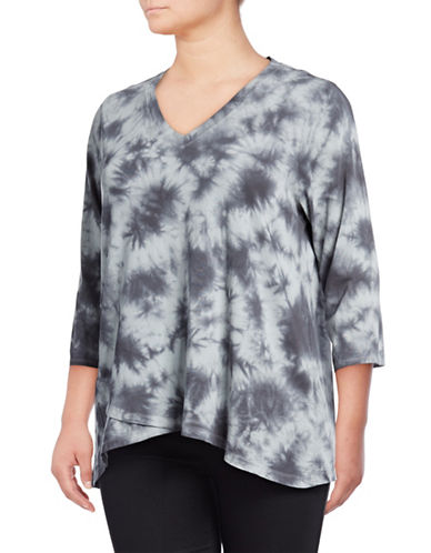 Calvin Klein Performance Plus Plus Three-Quarter Sleeve Asteroid Tie Dye Cross Over Top-GREY-1X 89765098_GREY_1X
