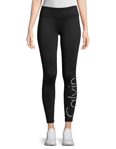 Calvin Klein Performance Logo Pull-On Leggings-BLACK-Large