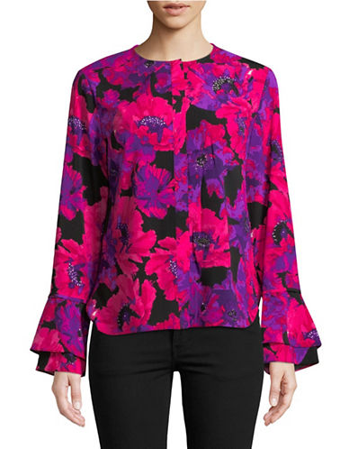Calvin Klein Floral Flare-Sleeve Top-MULTI-X-Large