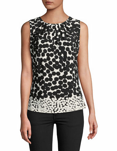 Calvin Klein Polka Dot Sleeveless Camisole-BLACK/CREAM-Small
