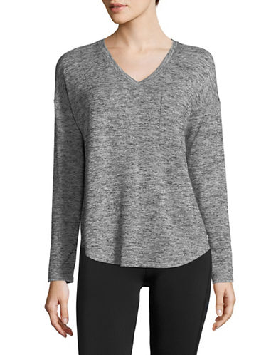 Calvin Klein Performance V-Neck Long Sleeve Top-GREY-X-Large 89983979_GREY_X-Large