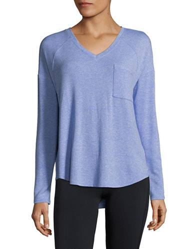 Calvin Klein Performance V-Neck Long Sleeve Top-BLUE-Small 89983982_BLUE_Small