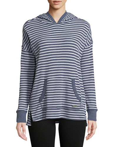 Calvin Klein Performance Pullover Striped Hoodie-BLUE-X-Large