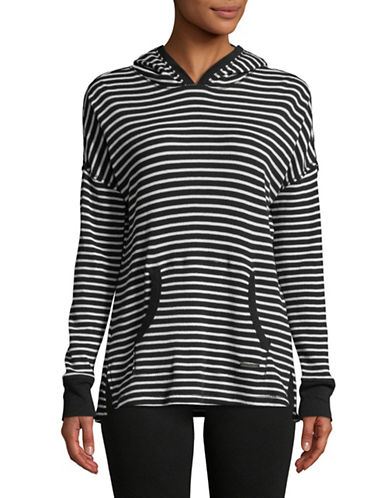 Calvin Klein Performance Pullover Striped Hoodie-BLACK-Large