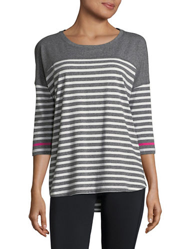 Calvin Klein Performance Striped Dolman Stretch T-Shirt-GREY-Medium 89983989_GREY_Medium