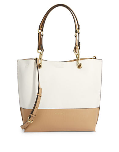 Calvin Klein Reversible Leather Tote-WHITE-One Size