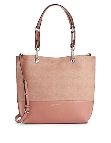 Calvin Klein Reversible Leather Tote-BLUSH-One Size