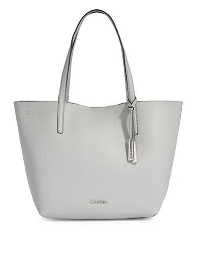 Calvin Klein Unlined Faux-Leather Tote-SLATE-One Size