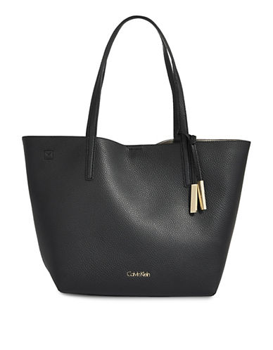 Calvin Klein Unlined Faux-Leather Tote-BLACK-One Size