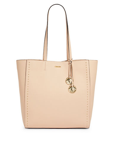 Calvin Klein Studded Leather Tote-BEIGE-One Size