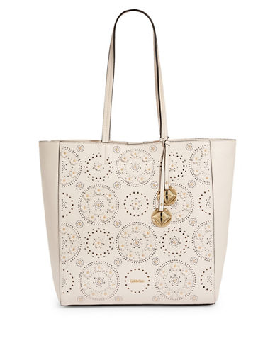 Calvin Klein Studded Leather Tote-WHITE-One Size