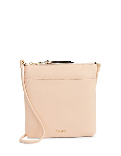 Calvin Klein Classic Pebbled Leather Crossbody-PINK-One Size