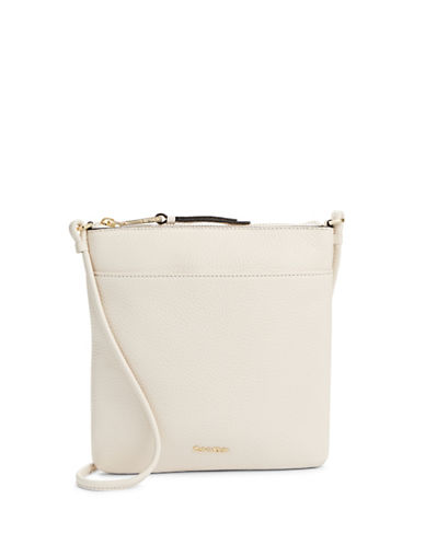 Calvin Klein Classic Pebbled Leather Crossbody-WHITE-One Size