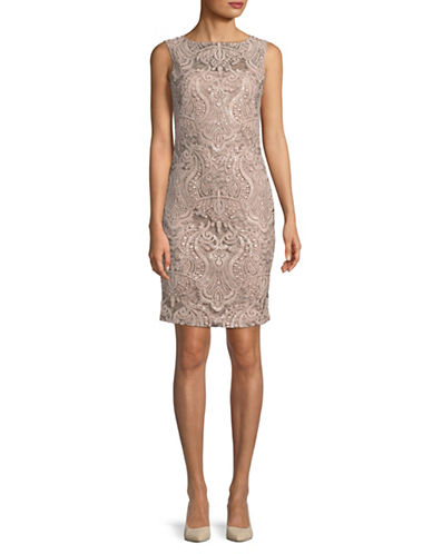 Calvin Klein Sequin Embellished Overlay Cocktail Dress-BEIGE-10