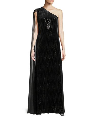 Calvin Klein Sequin Velvet One-Shoulder Gown-BLACK-4