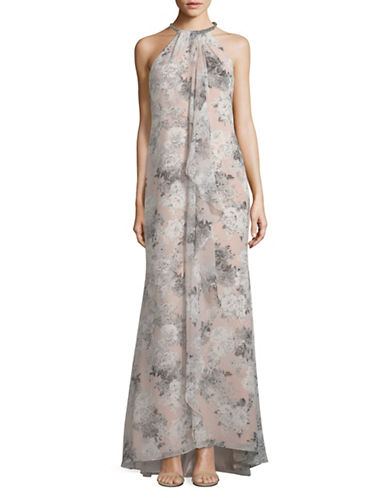 Calvin Klein Floral-Print Halter Gown-PINK-6