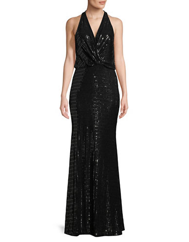 Calvin Klein Sequin V-Neck Gown-BLACK/SILVER-10
