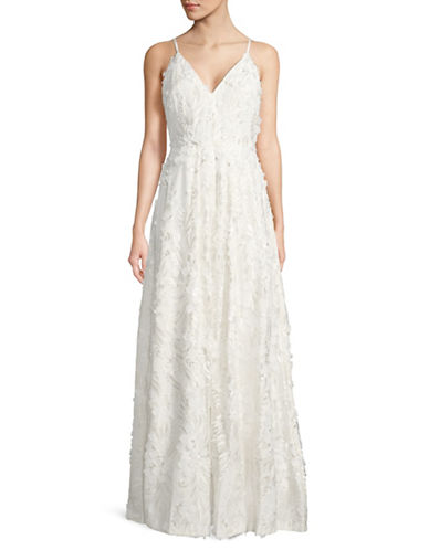 Calvin Klein 3D Floral Floor-Length Gown-WHITE-4