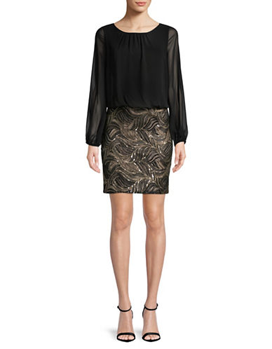 Calvin Klein Sequin Two-Fer Blouson Dress-BLACK-14