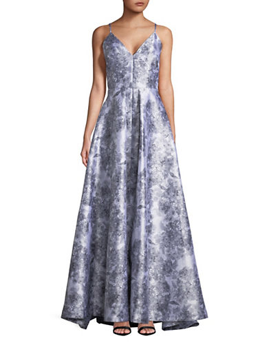 Calvin Klein Floral V-Back Ball Gown-GREY-8
