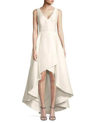 Calvin Klein V-Neck Hi-Lo Dress-WHITE-10