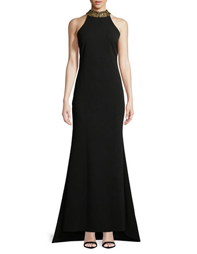Calvin Klein Jeweled Halterneck Gown-BLACK-6