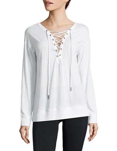 Calvin Klein Performance Cotton-Blend Lace Back Sweater-WHITE-Large