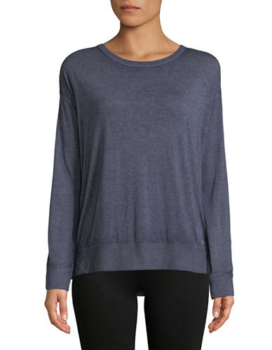 Calvin Klein Performance Cotton-Blend Lace Back Sweater-NAVY-Small