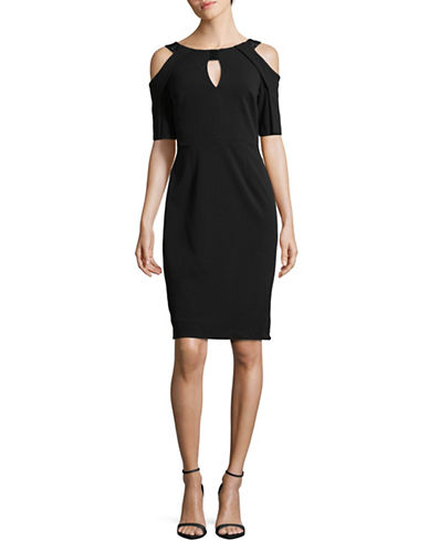 Calvin Klein Keyhole Cold Shoulder Dress-BLACK-10