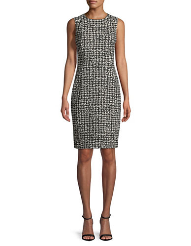 Calvin Klein Compression Jacquard Sheath Dress-BLACK-14