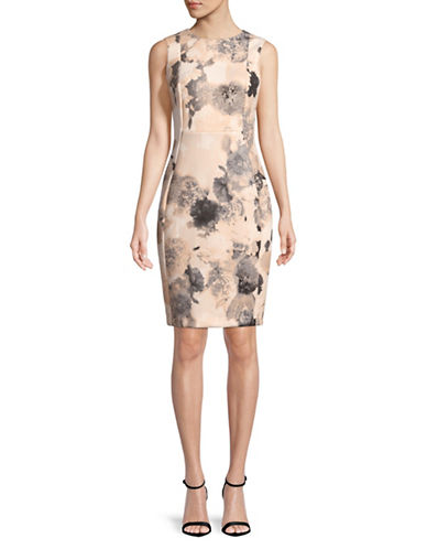 Calvin Klein Floral-Print Sheath Dress-BLUSH-2