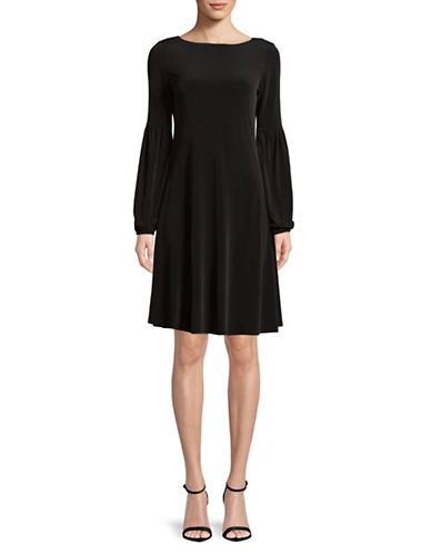Calvin Klein Balloon-Sleeve A-Line Dress-BLACK-4