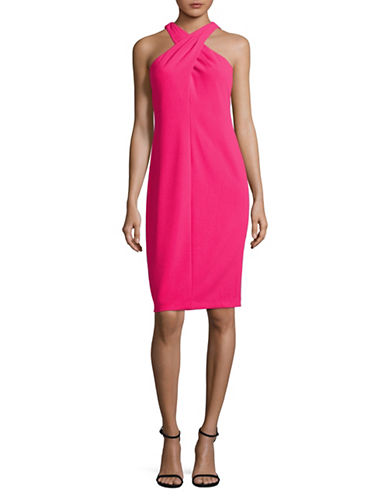 Calvin Klein Sleeveless Cross Front Sheath Dress-PINK-10