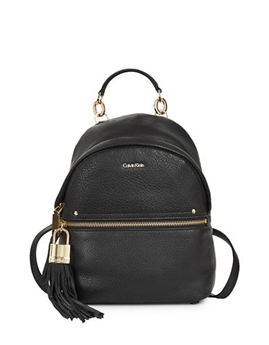 Calvin Klein Tasseled Leather Mini Backpack-BLACK-One Size