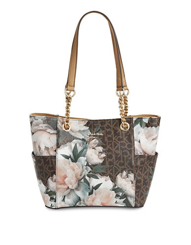 Calvin Klein Key Items Logo Tote-FLORAL-One Size