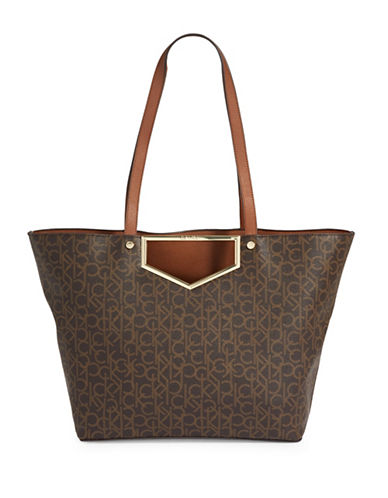 Calvin Klein Logo Printed Tote-BROWN-One Size