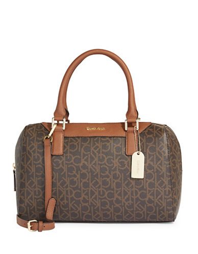Calvin Klein Logo Printed Leather Satchel-BROWN-One Size