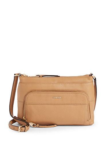 Calvin Klein Pebbled Crossbody Bag-BEIGE-One Size