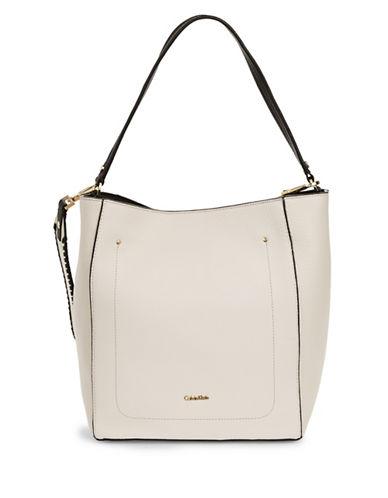 Calvin Klein Whipstitch Leather Hobo Bag-WHITE-One Size