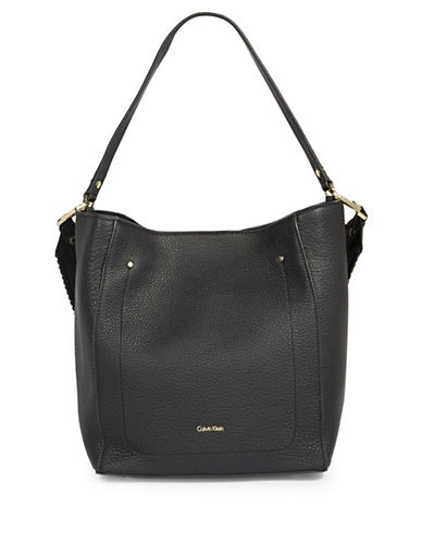 Calvin Klein Whipstitch Leather Hobo Bag-BLACK-One Size