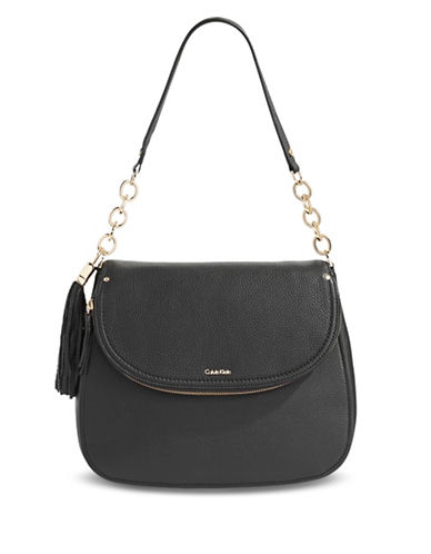 Calvin Klein Flap Shoulder Bag-BLACK-One Size